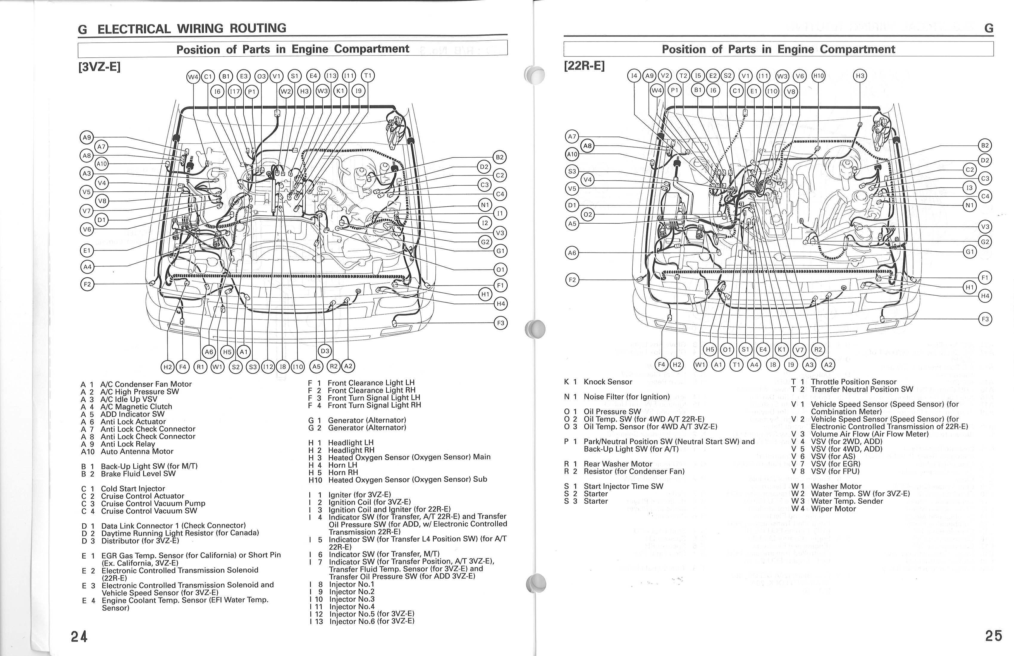 Electrical Wiring Routing Diagram 88 Toyota Pickup 22r - Schematic